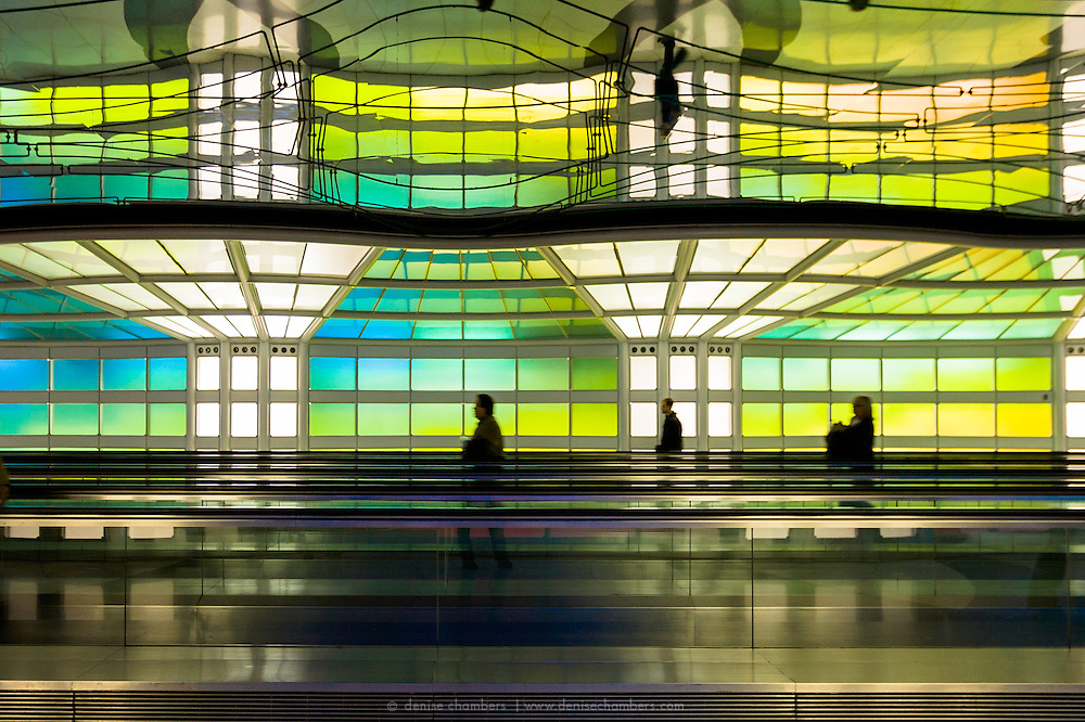 "Michael Hayden's neon installation ""Sky's the Limit"" walkway at Chicago's O'hare Airport"