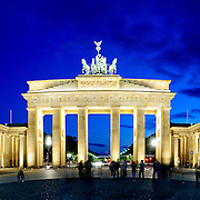Brandenburg Gate (Brandenburger Tor) in Berlin, Germany. The gate is on the main symbols of Berlin and Germany and is the only remaining gate of a series that originally encircled Berlin.