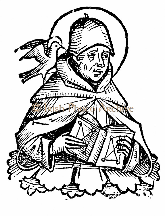 St Thomas Aquinas (c1225-1274) Italian philosopher and theologian. Joined Dominican order and studied under Albertus Magnus at Cologne. Wrote commentaries on Aristotle He holds open a book, while on his shoulder is the dove of the Holy Spirit. Woodcut from Hartmann Schedel 'Liber chronicarum mundi' (Nuremberg Chronicle) Nuremberg 1493