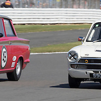 #49, Ford Lotus Cortina (1964), Michael McInerney (GB), Silverstone Classic 2015, Warwick Banks Trophy for Under 2 Litre Touring Cars (U2TC) (Left) and  #98, Ford Lotus Cortina (1965), Graham Pattle (GB) and Thomas Pattle (GB), Silverstone Classic 2015, Warwick Banks Trophy for Under 2 Litre Touring Cars (U2TC) (Right). 25.07.2015. Silverstone, England, U.K.  Silverstone Classic 2015.