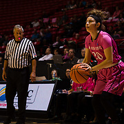 10 February 2018: The San Diego State Aztecs women's basketball team hosts Nevada on Play4Kay day at Viejas Arena. San Diego State Aztecs guard Geena Gomez (20) attempts an uncontested three point shot in the first half. <br /> More game action at www.sdsuaztecphotos.com