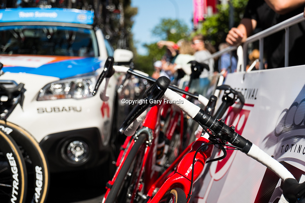 Trek bikes at the start of Stage 4, Norwood to Uraidla, of the Tour Down Under, Australia on the 19 of January 2018 ( Credit Image: © Gary Francis / ZUMA WIRE SERVICE )