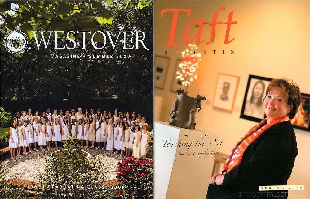 Alumni magazines.The Westover School ,left, and The Taft School.(Photo by Robert Falcetti)