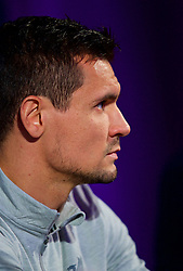 MARIBOR, SLOVENIA - Monday, October 16, 2017: Liverpool's Dejan Lovren during a press conference ahead of the UEFA Champions League Group E match between NK Maribor and Liverpool at the Stadion Ljudski vrt. (Pic by David Rawcliffe/Propaganda)
