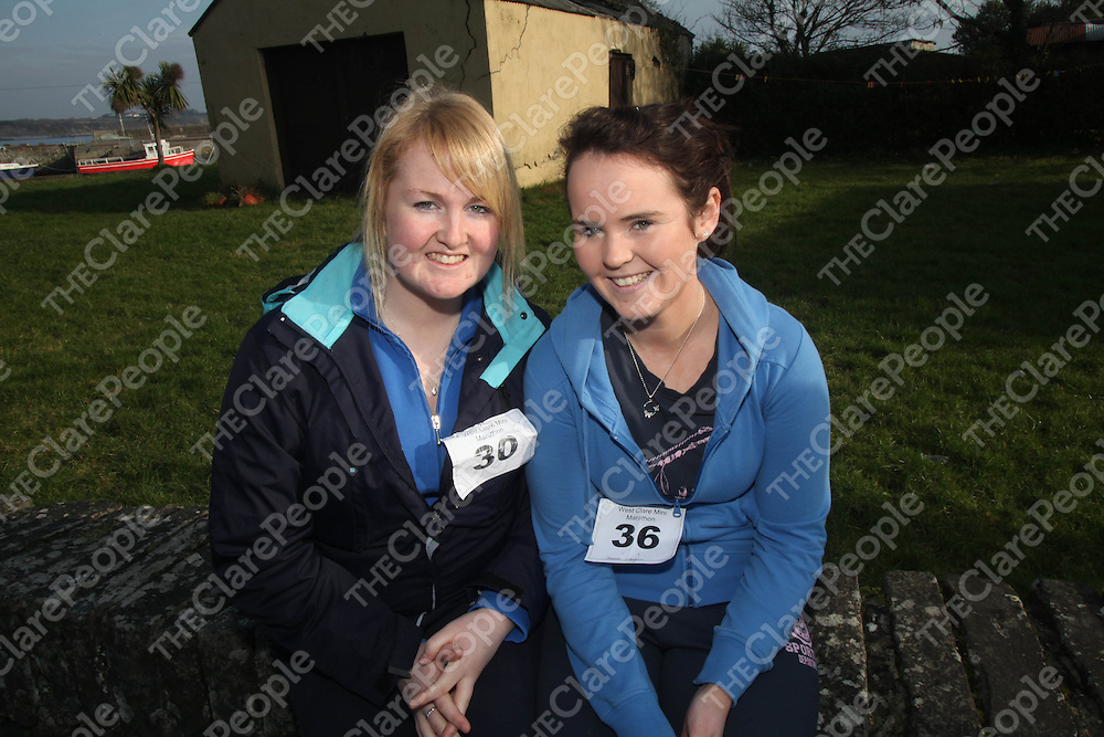 Niamh Kearns and Deirdre Callaghan pictured at the West Clare Mini Marathon in Carrigaholt on Sunday.<br /> Pic. Brian Arthur/ Press 22.
