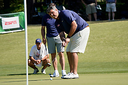 Ole Miss head football coach Matt Luke putts during the Chick-fil-A Peach Bowl Challenge at the Ritz Carlton Reynolds, Lake Oconee, on Tuesday, April 30, 2019, in Greensboro, GA. (Paul Abell via Abell Images for Chick-fil-A Peach Bowl Challenge)