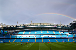 MANCHESTER, ENGLAND - Friday, August 24, 2018: A rainbow over the City of Manchester Stadium before the Under-23 FA Premier League 2 Division 1 match between Manchester City FC and Liverpool FC. (Pic by David Rawcliffe/Propaganda)