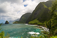 The guided tour at the historic site of Kalaupapa on the island of Molokai, Hawaii, USA. The sea cliffs as seen from Kalawao.