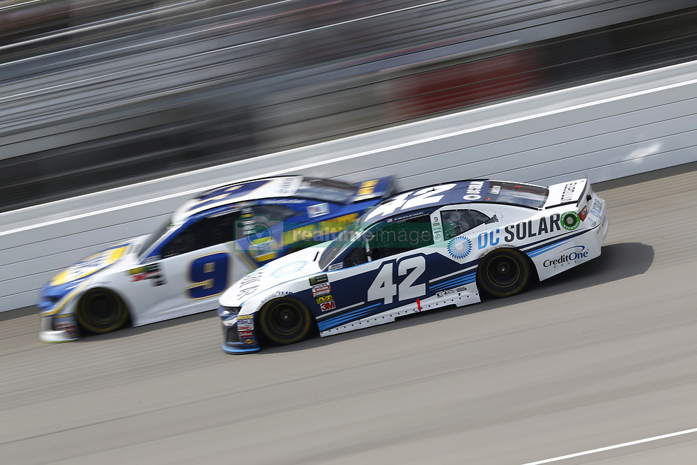 August 12, 2018 - Brooklyn, Michigan, United States of America - Kyle Larson (42) and Chase Elliott (9) battle for position during the Consumers Energy 400 at Michigan International Speedway in Brooklyn, Michigan. (Credit Image: © Chris Owens Asp Inc/ASP via ZUMA Wire)