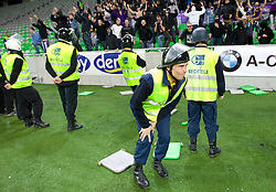 Viole, fans of Maribor injured one security guard with a chair during the football match between NK Olimpija and NK Maribor, played in the 4th Round of Prva liga football league 2010 - 2011, on September 29, 2010, in Stozice, Ljubljana, Slovenia. Maribor defeated Olimpija 1 - 0. (Photo by Vid Ponikvar / Sportida)