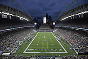 Aug 8, 2019; Seattle, WA, USA; General overall view of an NFL game between the Denver Broncos and the Seattle Seahawks with the downtown Seattle skyline as a backdrop at CenturyLink Field. The Seahawks defeated the Broncos 22-14.