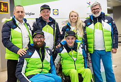 Jernej Slivnik with his team: Damijan Lazar, Gal Jakic, Roman Podlipnik, Manca Vida and Roman Jakic  prior to the departure of Slovenian Paralympic team for Pyeongchang 2018 Winter Paralympics, on March 3, 2018 in Letalisce Jozeta Pucnika, Brnik, Slovenia. Photo by Vid Ponikvar / Sportida
