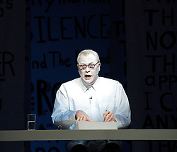 Robert Wilson .John Cage Lecture on Nothing, The Barbican Theatre, London, Great Britain. Performed and directed by Robert Wilson. Music by Arno Kraehahn. Video by Tomek Jeziorski, February 25, 2013. Photo by Elliott Franks / i-Images.