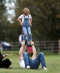 Zara Tindall and Mike Tindall are seen enjoying a day out at the Burghley Horse Trials with their daughter Mia. The happy family were joined by Zara's mum, Princess Anne and dad Mark Philips.<br /><br />7 September 2019.<br /><br />Please byline: Vantagenews.com<br /><br />UK clients should be aware children's faces may need pixelating.