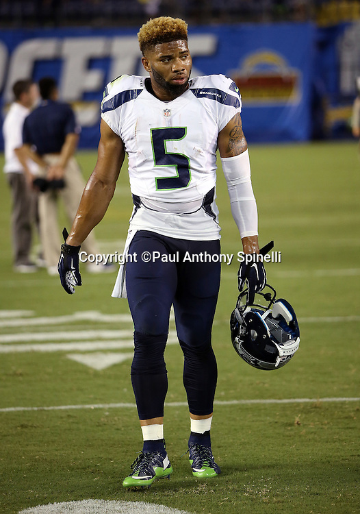 Seattle Seahawks wide receiver B.J. Daniels (5) walks off the field after the 2015 NFL preseason football game against the San Diego Chargers on Saturday, Aug. 29, 2015 in San Diego. The Seahawks won the game 16-15. (©Paul Anthony Spinelli)