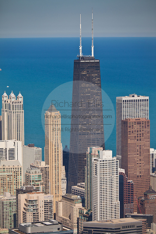 View of Chicago skyline and Lake Michigan looking northeast from The Willis Tower previously the Sears Towner.