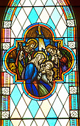 Stained glass window of Nativity at Olivet United Church of Christ. St Paul Minnesota USA