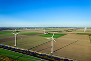 Nederland, Flevoland, Zeewolde, 24-10-2013; windmolens langs de Hoge Vaart in de Flevopolder  vormen een windmolenpark (windpark).<br /> Wind turbines of a wind farm in the Flevopolder.<br /> luchtfoto (toeslag op standard tarieven);<br /> aerial photo (additional fee required);<br /> copyright foto/photo Siebe Swart