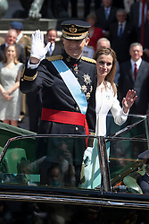 19.06.2014, Madrid, ESP, Abdankung K&ouml;nig Juan Carlos, Kr&ouml;nungszeremonie, im Bild King Felipe VI of Spain and Queen Letizia of Spain leave Congreso de los Diputados // during the celebration of the coronation ceremony. Kin Juan I of Spain abdicated on his son Felipe at the beginning of June. Madrid, Spain on 2014/06/19. EXPA Pictures &copy; 2014, PhotoCredit: EXPA/ Alterphotos/ Victor Blanco<br /> <br /> *****ATTENTION - OUT of ESP, SUI*****