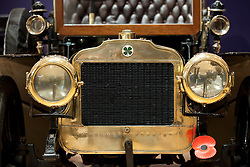 © Licensed to London News Pictures. 01/11/2012. London, UK. The front of a 1904 Richard-Brasier 16hp Four-Cylinder Side-Entrance Tonneau (est. GB£220,000-300,000) is seen at Bonham's New Oxford Street auction house ahead of a veteran car sale this Friday (02/11/12).  The annual auction entitled 'Veteran Motor Cars and Related Automobilia', takes place the on Friday the 2 November, the day before the Bonham's sponsored 'London to Brighton Veteran Car Run' an event for which some of the cars are already registered to enter. Photo credit: Matt Cetti-Roberts/LNP