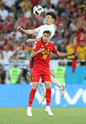 KALININGRAD, June 28, 2018  Harry Maguire (top) of England competes for a header with Adnan Januzaj of Belgium during the 2018 FIFA World Cup Group G match between England and Belgium in Kaliningrad, Russia, June 28, 2018. (Credit Image: © Cao Can/Xinhua via ZUMA Wire)