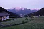 South Tyrol. Toblach/Kandellen (Dobbiaco/Gandelle). Seiterhof restaurant and hotel. View towards Toblach and the Dolomites.