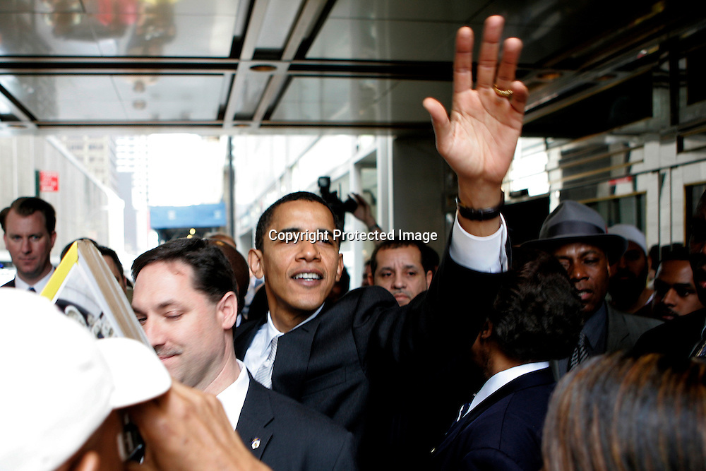 Presidential candidate U.S. Senator Barack Obama(D-IL) greets supporters after addressing the Reverend Al Sharpton's National Action Network convention in New York, NY  April 21, 2007.