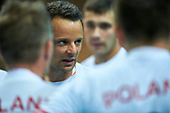 Katowice, Poland - 2017 September 02: Trainer coach Radoslaw Lypczak from SO Poland talks with his team while SO Poland versus SO Czech Republic match during European Unified Volleyball Tournament 2017 at Spodek Hall on September 02, 2017 in Katowice, Poland.<br /> <br /> Adam Nurkiewicz declares that he has no rights to the image of people at the photographs of his authorship.<br /> <br /> Picture also available in RAW (NEF) or TIFF format on special request.<br /> <br /> Any editorial, commercial or promotional use requires written permission from the author of image.<br /> <br /> Image can be used in the press when the method of use and the signature does not hurt people on the picture.<br /> <br /> Mandatory credit:<br /> Photo by © Adam Nurkiewicz / Mediasport