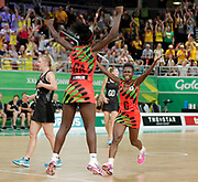 8th April 2018, Gold Coast Convention and Exhibition Centre, Gold Coast, Australia; Commonwealth Games day 4; Netball Malawi versus New Zealand Malawais Takondwa Lwazi and Jane Chimaliro celebrate as Malawi defeat New Zealand 57-53