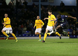 Jamar Loza Of Southend United scores his sides third goal - Photo mandatory by-line: Robin White/JMP - Tel: Mobile: 07966 386802 24/03/2014 - SPORT - FOOTBALL - Roots Hall - Southend - Southend United vs Oxford United - Sky Bet League 2