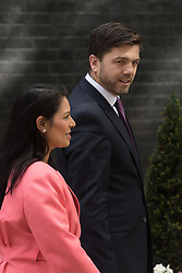 Downing Street, London, July 5th 2016. Employment Minister Priti Patel and Work and Pensions Secretary Stephen Crabb leave 10 Downing Street following the weekly cabinet meeting.