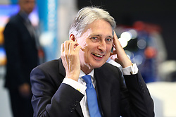 © Licensed to London News Pictures . 02/10/2017. Manchester, UK. Chancellor PHILIP HAMMOND being interviewed at the start of the second day of the Conservative Party Conference at the Manchester Central Convention Centre . Photo credit: Joel Goodman/LNP