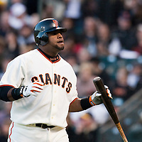 17 April 2009: San Francisco Giants' third base Pablo Sandoval reacts after being called on strikes during the San Francisco Giants' 2-0 win against the Arizona Diamondbacks at AT&T Park in San Francisco, CA.