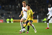 Coventry City midfielder (on loan from Aston Villa) Callum O'Hare (17) battles for possession  with Milton Keynes Dons defender Dean Lewington (3) during the EFL Trophy match between Milton Keynes Dons and Coventry City at Stadium:MK, Milton Keynes, England on 3 December 2019.