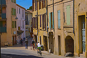 Sommieres, South of France, Medieval Street Scene, Bicycle