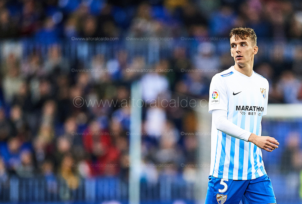 MALAGA, SPAIN - DECEMBER 09:  Diego Llorente of Malaga CF looks on during La Liga match between Malaga CF and Granada CF at La Rosaleda Stadium December 9, 2016 in Malaga, Spain.  (Photo by Aitor Alcalde Colomer/Getty Images)