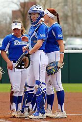 21 April 2018:  a few Drake Bulldog infielders during a Missouri Valley Conference (MVC) women's softball game between the Drake Bulldogs and the Illinois State Redbirds on Marian Kneer Field in Normal IL