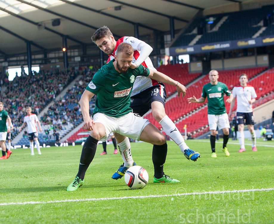 Hibernian's Jordan Forester and Falkirk's Luke Leahy. <br /> Hibernian 0 v 1 Falkirk, William Hill Scottish Cup semi-final, played 18/4/2015 at Hamden Park, Glasgow.