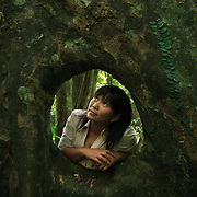 Conservationist Vu Thi Quyen leans through a hole cut out of a giant tree by local villagers, in Cuc Phuong National Park, 140 kilometers south of Hanoi, Vietnam. The 31-year-old Quyen started Vietnam's first domestic wildlife conservation group, Education for Nature Vietnam (ENV), four years ago. Now based in Hanoi, she is at the forefront of a growing movement to help Vietnamese understand the importance of conserving wildlife in one of Asia's most ecologically diverse nations. ..