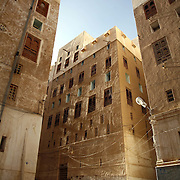 Children play in the city of Shibam, a fortified 16th century city. Shibam is one of the oldest and best examples of urban planning based on the principle of vertical construction. The tower like buildings have been dubbed 'the Manhattan of the desert'.