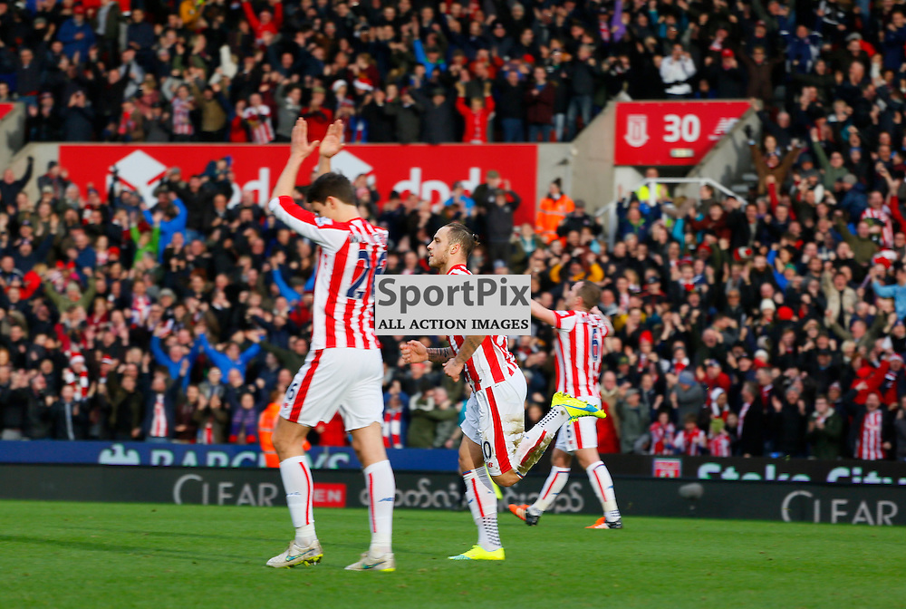 Marko Arnautovic runs off celebrating his goal during Stoke City v Manchester United, Barclays Premier League, Saturday 26th December 2015, Britannia Stadium, Stoke