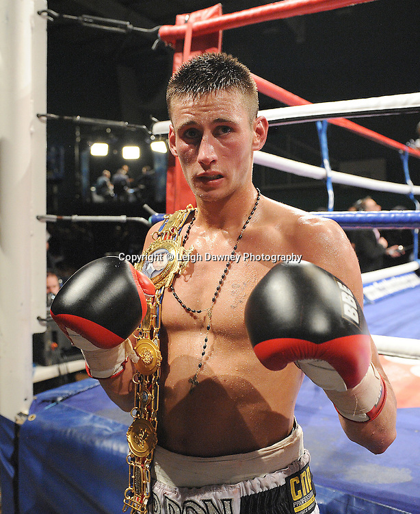 Prince Arron with belt claiming the British Light middleweight title at Medway Park, Gillingham,13th May 2011. Frank Maloney Promotions. Photo credit © Leigh Dawney.