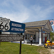 Standard Oil gas station in Odell. Historic U.S. Route 66 starts in Chicago traveling through 6 states and ending in Santa Monica, California.<br /> Photography by Jose More