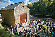 Investors and locals attend the official opening of Halton Lune Hydro, Halton, Lancashire.