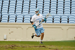 CHAPEL HILL, NC - FEBRUARY 23: Alex Trippi #1 of the North Carolina Tar Heels during a game against the Johns Hopkins Blue Jays on February 23, 2019 at Kenan Stadium in Chapel Hill, North Carolina. Hopkins won 11-10. (Photo by Peyton Williams/US Lacrosse)