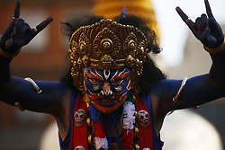 April 14, 2018 - Kathmandu, Nepal - An artist dressed as a Deity performs during Itumbahal festival, a celebration held to mark the Nepalese New Year in Kathmandu, Nepal. (Credit Image: © Skanda Gautam via ZUMA Wire)