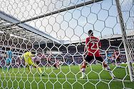 EINDHOVEN, PSV - Feyenoord, voetbal, Eredivisie seizoen 2016-2017, 18-9-2016, Philips Stadion, Feyenoord speler Eric Botteghin (3R) scoort de 0-1, PSV keeper Jeroen Zoet (2L) is kansloos, PSV speler Bart Ramselaar (4R).