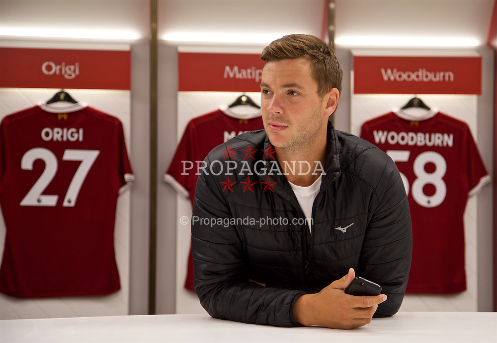 LIVERPOOL, ENGLAND - Sunday, June 18, 2017: Marcus Willis in the dressing room on a visit Anfield during Day Four of the Liverpool Hope University International Tennis Tournament 2017. (Pic by David Rawcliffe/Propaganda)