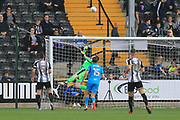 Notts County goalkeeper Adam Collin(1) tips a header over the bar during the EFL Sky Bet League 2 match between Notts County and Barnet at Meadow Lane, Nottingham, England on 14 October 2017. Photo by Mick Haynes.