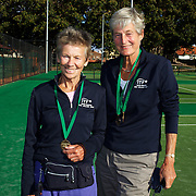 Jacky Boothman, Great Britain, (left) and Ellie Krocke, Nederlands, Semi Finalists, 65 Womens doubles competition during the 2009 ITF Super-Seniors World Team and Individual Championships at Perth, Western Australia, between 2-15th November, 2009